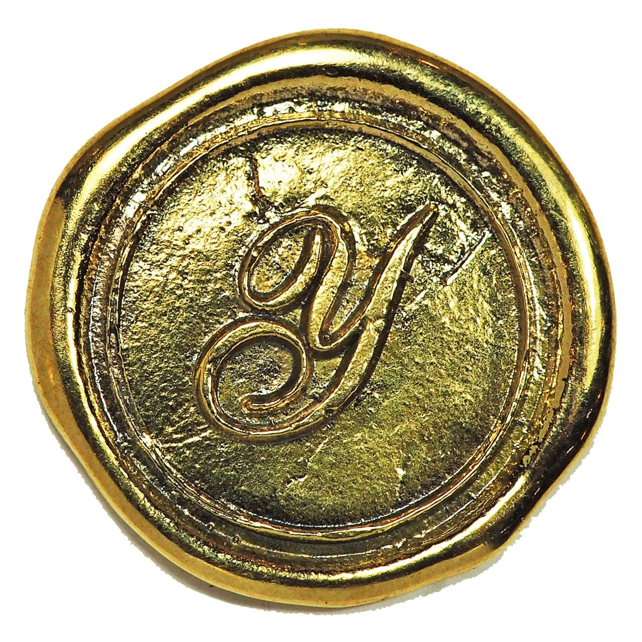シーリングイニシャル LL 〈Y〉 ブラス / コンチョボタン