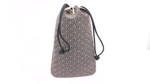 合財袋(小)黒/白 紗綾型柄