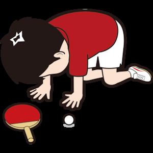 挫折する男子卓球選手