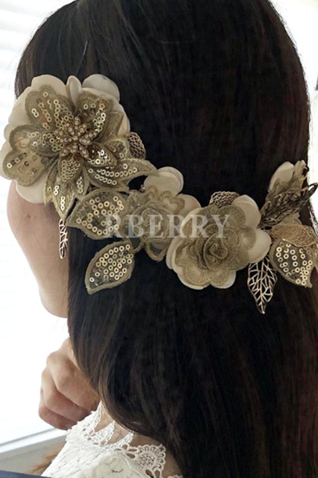 結婚式 花嫁 ヘッドドレス ヘッド アクセ アンティーク フラワーモチーフ  パーティードレス お呼ばれアクセサリー ウェディングアクセサリー sa0004