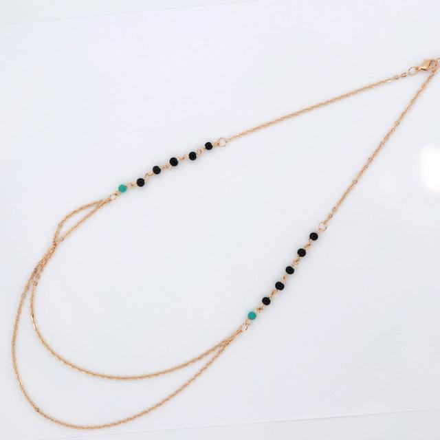 ネックレス 串珠フリンジ二層