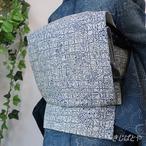 正絹絽 藍白に藍の京都小紋なごや 作家物