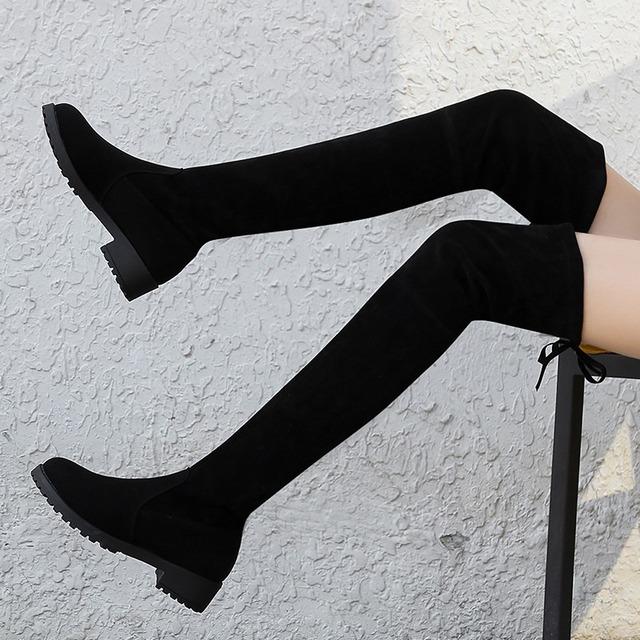 【シューズ】ファッション丸ト無地ゥ人気合わせやすいミドルヒールロング丈ブーツ42920251