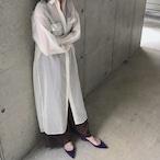 シアーロングシャツドレス オフホワイト