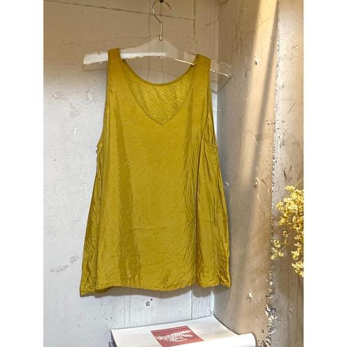 【hippiness】cupro 2way tank top (mustard)/【ヒッピネス】キュプラ 2way タンクトップ(マスタード)