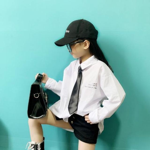 100~150cm ★ チュニック丈 ワイシャツ ネクタイ付き トップス