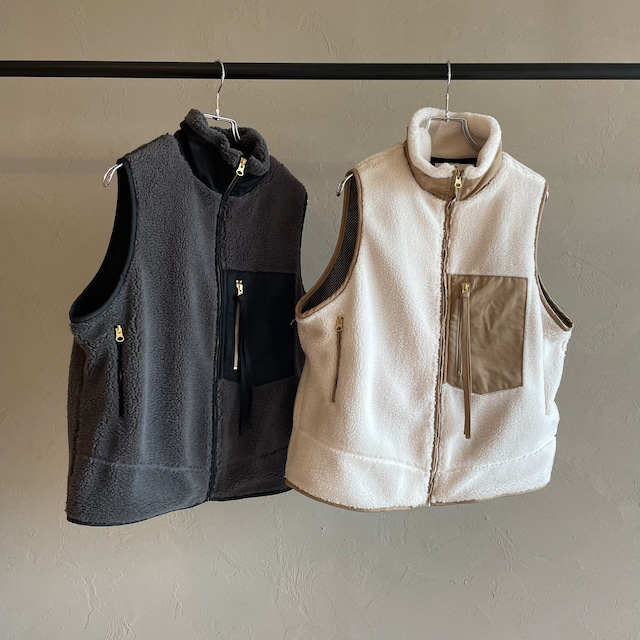 【 siro de labonte 】- R143309 - BOA vest ナイロン切り替えボアベスト