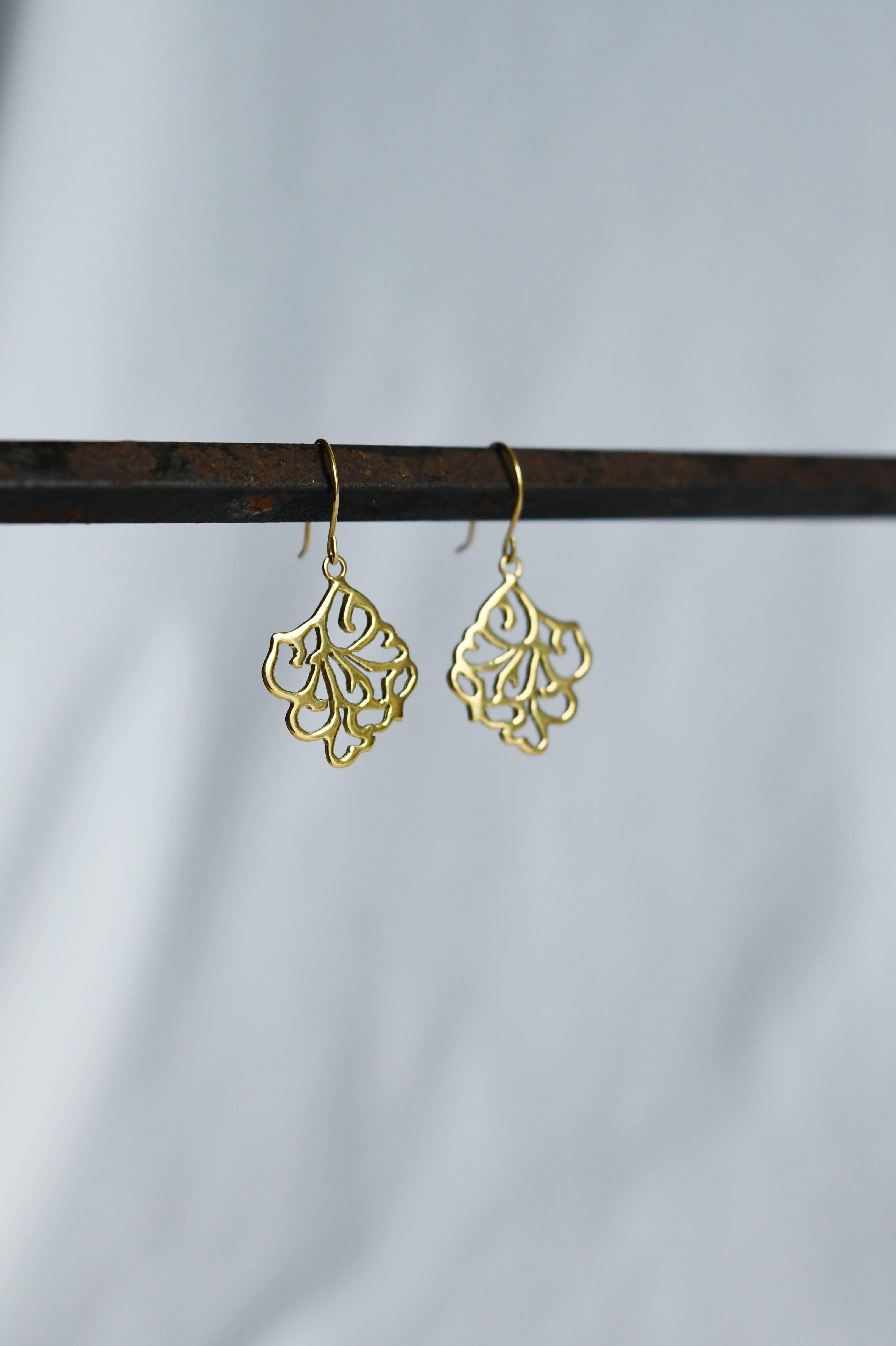 K18 Arabesque Design Square Earrings 18金アラベスクデザインピアス/イヤリング(スクエアー)