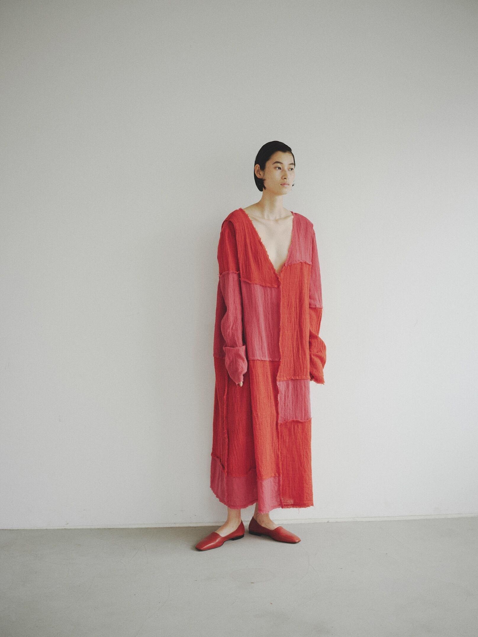 【予約】Eicayoshinari  Wool Gauze Connect Dress(ストール付き)
