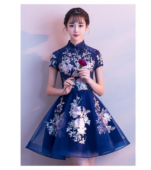 チャイナ風ドレス ショート丈 刺繡 レトロ ハイウエスト 結婚式 二次会 パーティー お呼ばれ wb062
