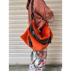 【RehersalL】ECO Fur BAG neck warmer (orange) /【リハーズオール】エコファーバッグ ネックウォーマー(オレンジ)
