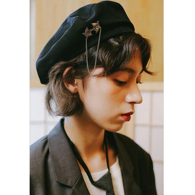 【楊二大夢シリーズ】★レディース帽子★ ベレー帽  キレイにかぶれる エレガント 飾り物付き 可愛い 黒