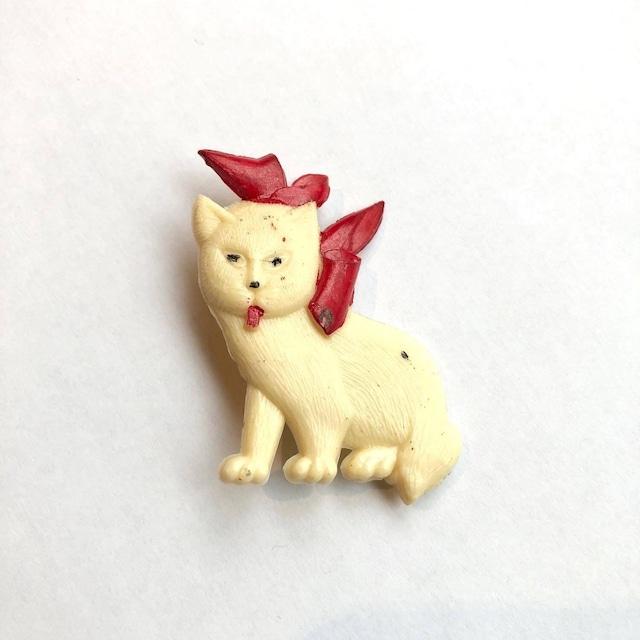 赤いリボンの子猫ヴィンテージブローチ