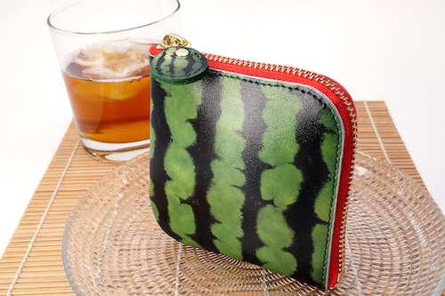 スイカなL字ファスナーコンパクト財布(牛革製)