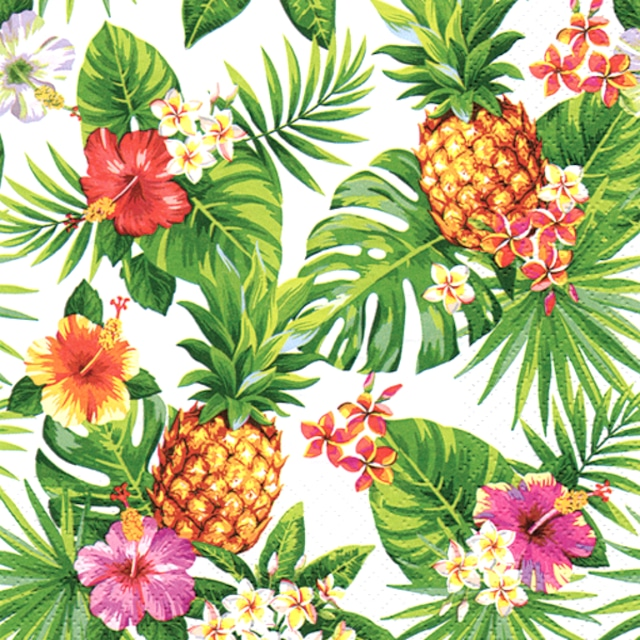 【ti-flair】バラ売り2枚 ランチサイズ ペーパーナプキン Pineapples & Palmleaves ホワイト