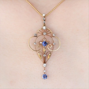 Montana Sapphire Diamond Pendant  モンタナ・サファイア & ダイヤモンド ペンダント