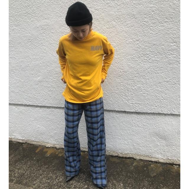 Blue block check pajama pants
