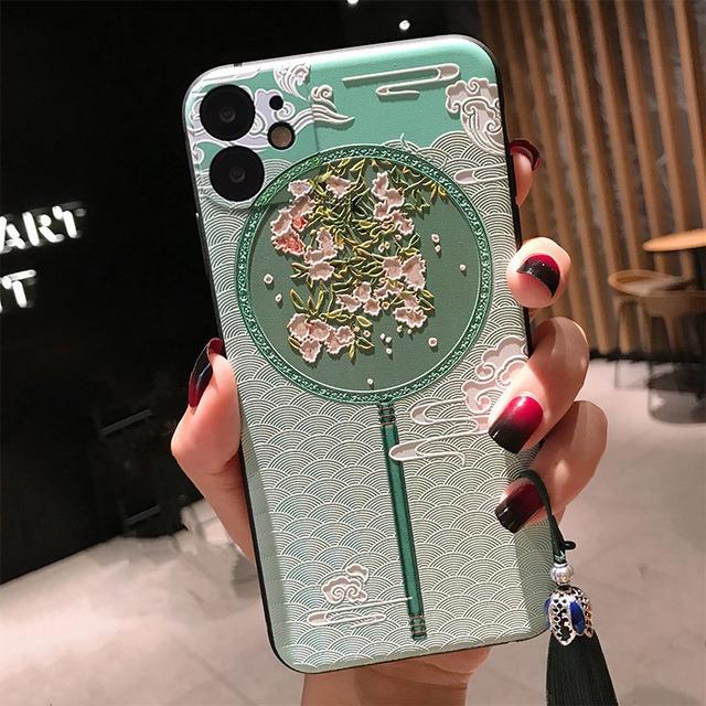 【YIKEシリーズ】★チャイナ風携帯ケース★2color選択可能 iPhone 12 12Pro 12mini 12ProMax iPhone 11 11Pro ProMax うちわ 美しい