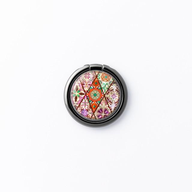 天然貝シェル★パステルピンクモロッコタイル(スマホリング・バンカーリング)|螺鈿アート|360度回転