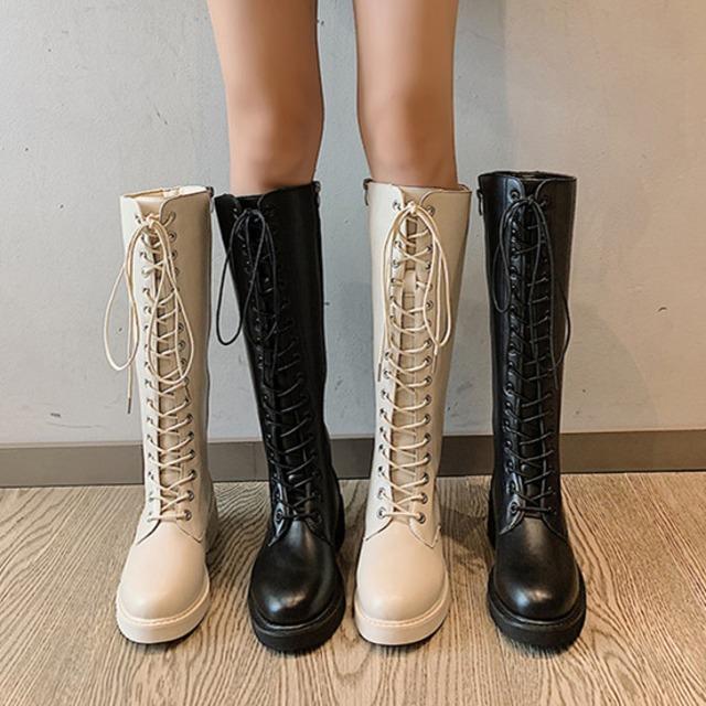 【シューズ】韓流暖かい切り替えミドルヒール丸トゥロング丈ブーツ34691215