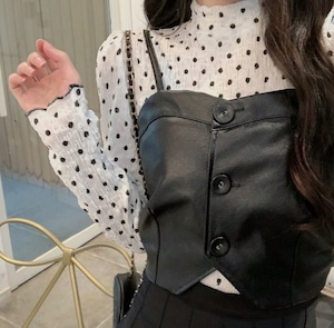 dot leather tops 3color