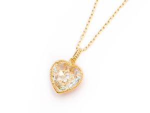 Sweet Heart 宝石質ブルートパーズ K18 ネックレス 42cmまで調整可 スライドボールつき