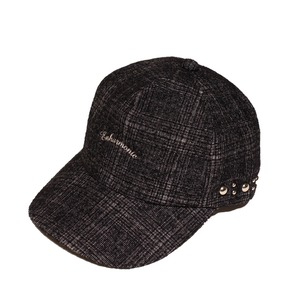 Enharmonic TAVERN x CA4LA Enharmonic Studs Cap Wool Bright Boucle Check -black <LSD-AH3AC2>