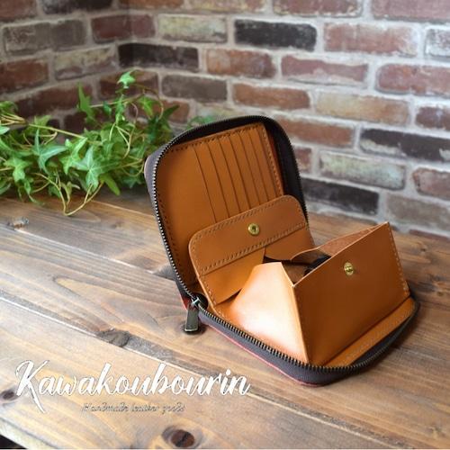 【オーダーメイド制作例】2つ折りラウンドファスナーのお財布(ギャルソンタイプ) (KA028b2)