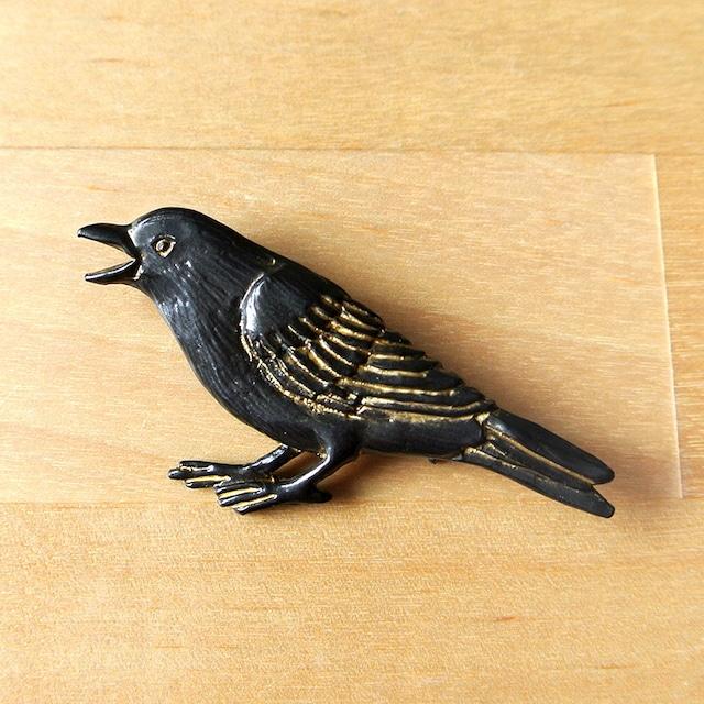 《鳥/カラス》 ブローチ ハシボソさん Palnart Poc パルナートポック 鴉 PB078