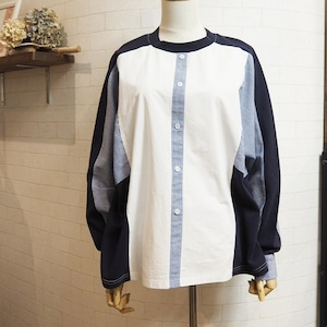 【SALE】design crewneck shirt  <white×navy>