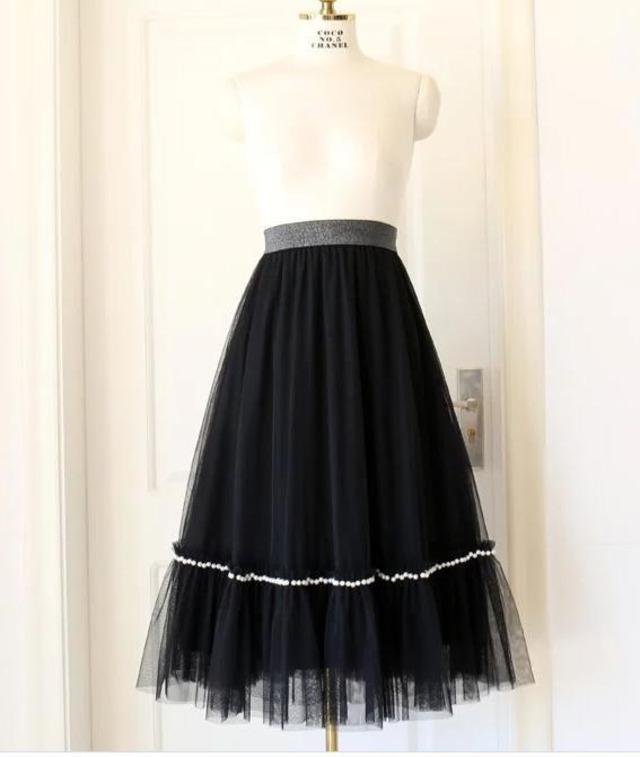 【スカート】パールチュールスカート・ブラック