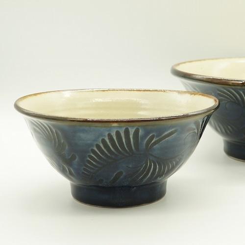 5寸マカイ 藍彩線彫り【石倉陶器所】