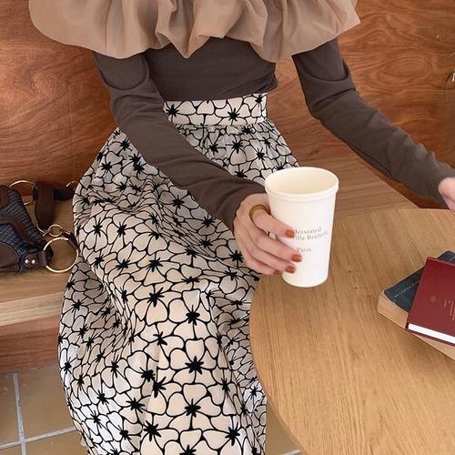 フラワーパターンハイウエストAラインスカート U6322