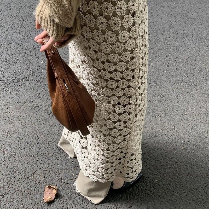 White crochet skirt(ホワイトクロシェットスカート)b-465