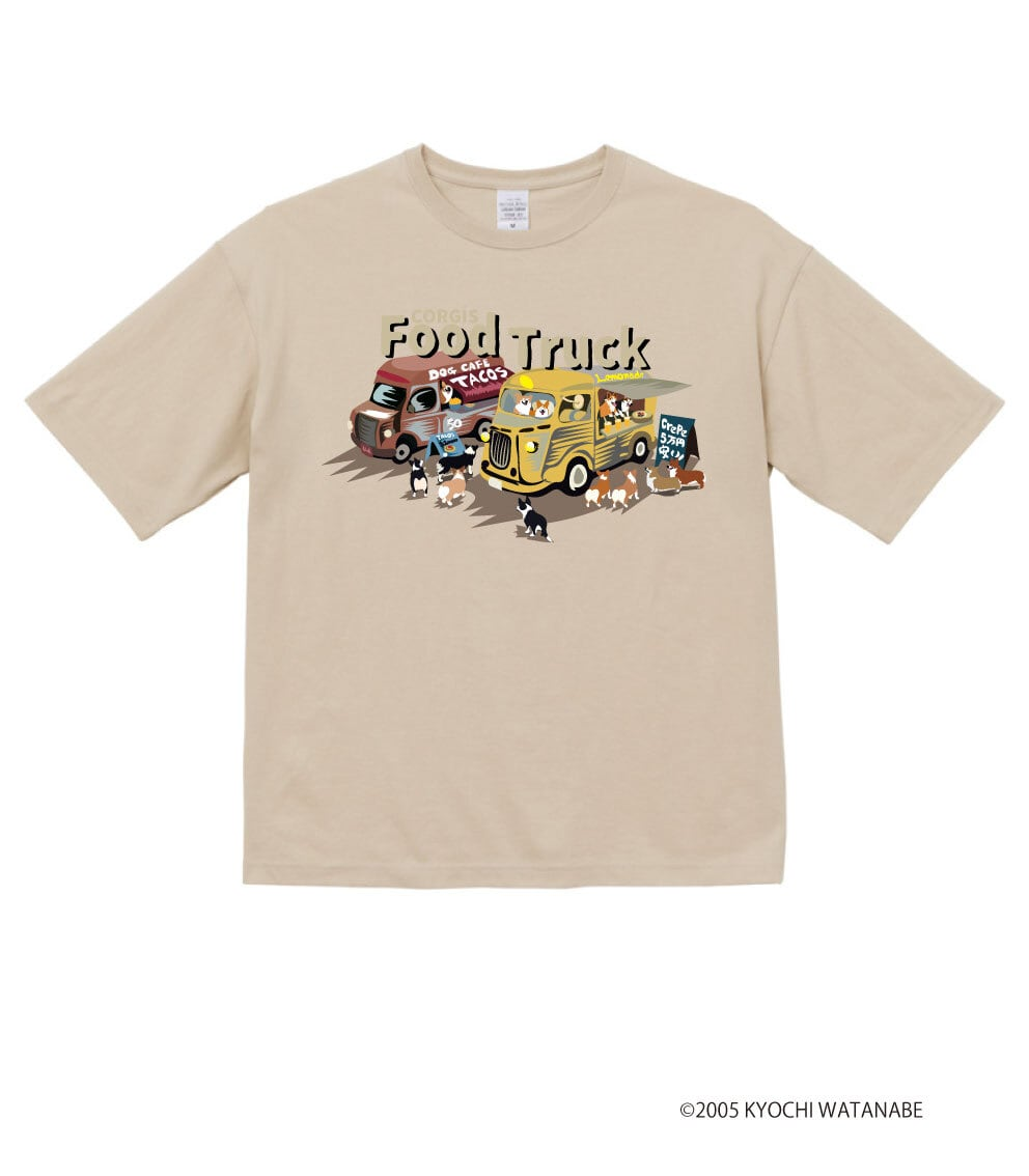 No.2021-aki-TS-004ビックシルエットTシャツ:  コーギーのフードカーTシャツ5.6oz ビックシルエットTシャツ