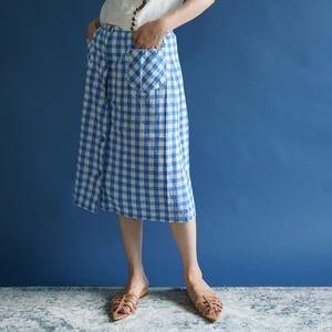 【送料無料】 70's vintage front bottoned blue white gingham cotton skirt