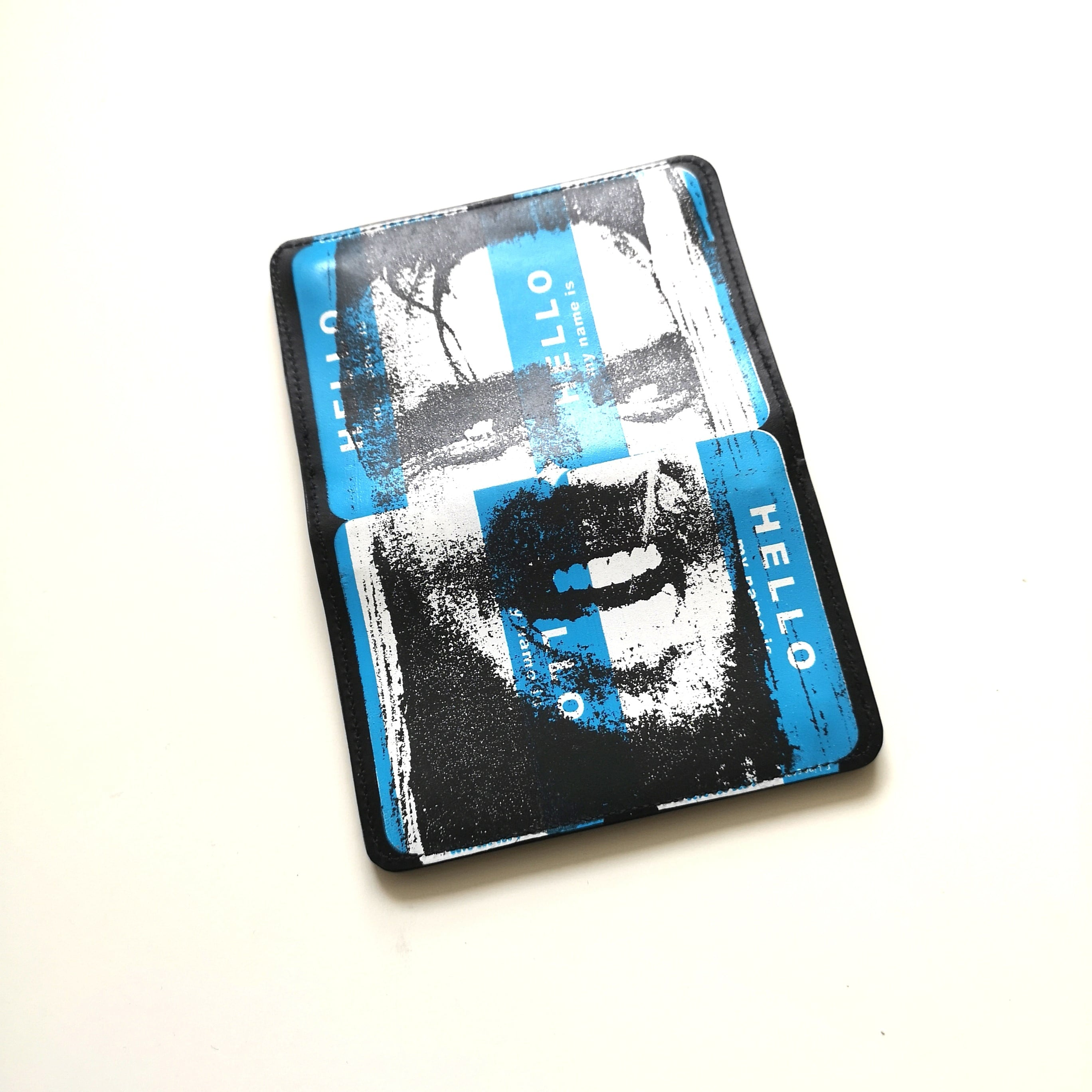 ||||| HELLO LEATHER WALLET BLU, RED