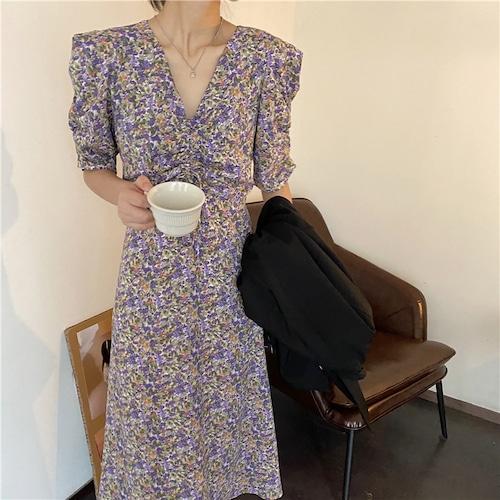 花柄 ワンピース Vネック ギャザー 韓国ファッション レディース ハイウエスト Aライン ロング丈 シンプル ガーリー 615393381445