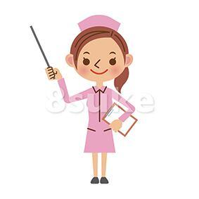 イラスト素材:指し棒を使って解説する看護師/ナース(ベクター・JPG)