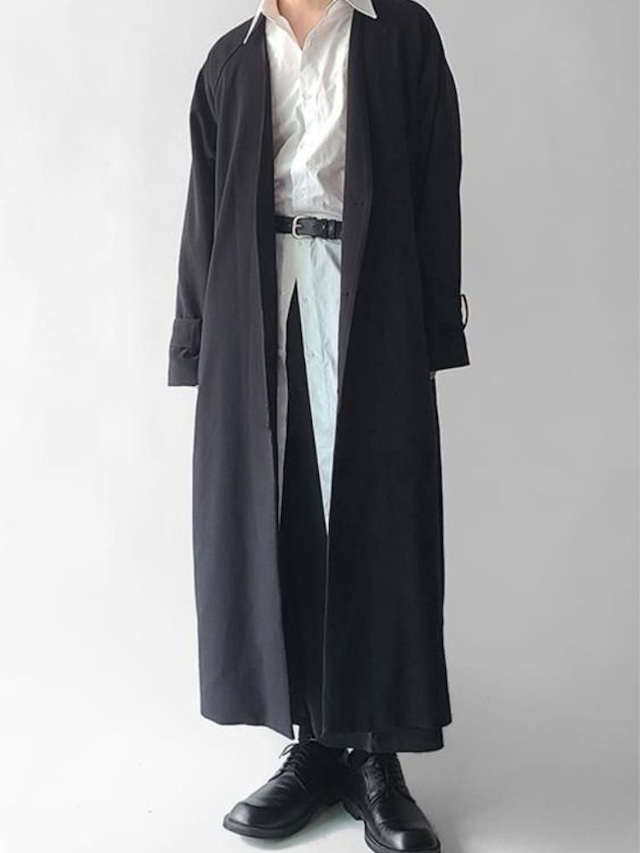 【UNISEX - 1 Size】COLLARLESS MAXI COAT / 3colors