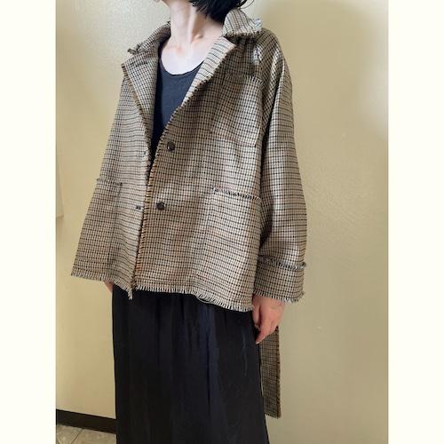 【RehersalL】check tweed short coat(beige) /【リハーズオール】チェックツイードショートコート(ベージュ)