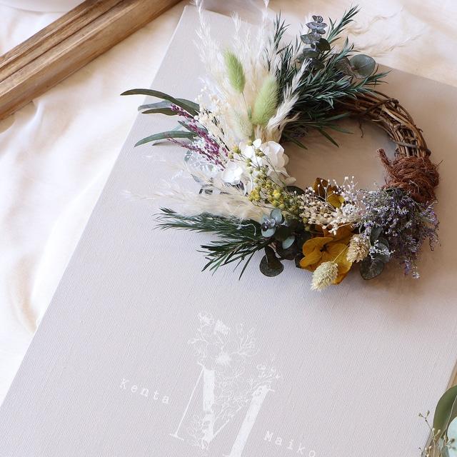 ころんとしたつるリースがかわいいフラワーウェルカムボード │結婚祝い 結婚式