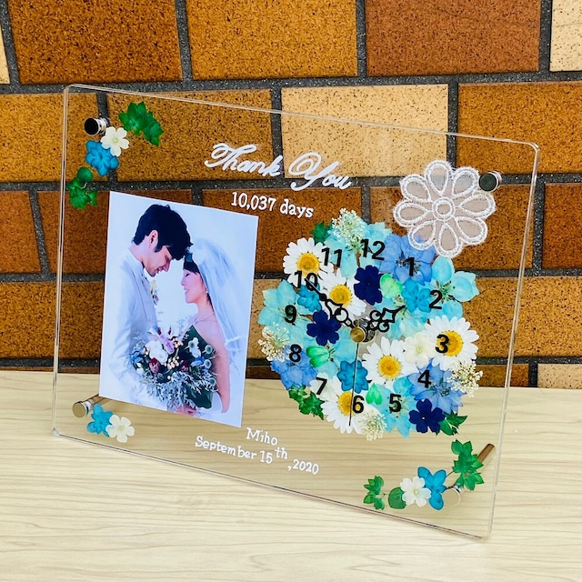 ✿時計(クオーツ)付き  ハンドメイド 【子育て感謝状【グレース・レース ブルー】  ギフト 両親贈呈 結婚祝い