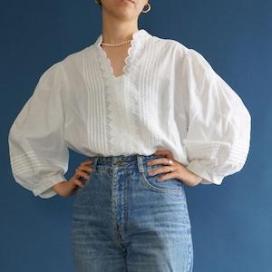 【送料無料】80's  Vintage white Big Sleeves Blouse(80年代 アンティーク 古着 レース パフスリーブ ブラウス)