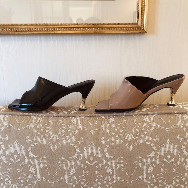 patent leather mule