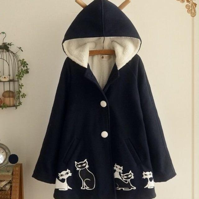【アウター】シングル長袖切り替えロングフード付きコート42912460