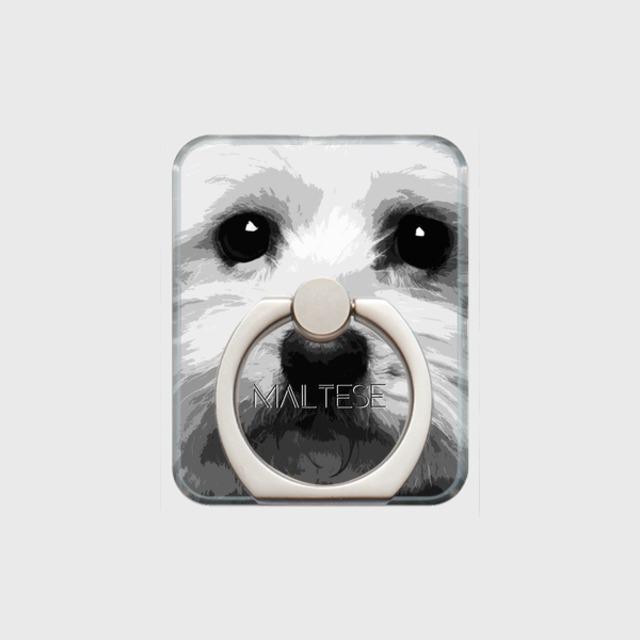 マルチーズ おしゃれな犬スマホリング【IMPACT -shirokuro- 】