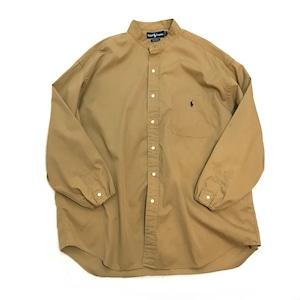 【USED】REMAKE Ralph Lauren ラルフローレン バンドカラーシャツ ポケット キャメル
