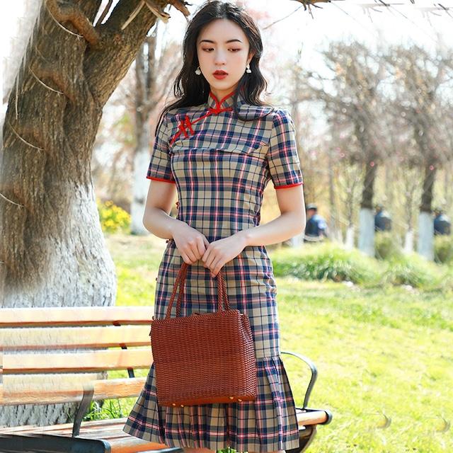 チャイナドレス ワンピース ドレス 改良型チャイナドレス チャイナ風服 スタンドネック 半袖 ショート丈 エレガント 着痩せ 上品 大きいサイズ S M L LL 3L 4L チェック柄 マーメイドライン
