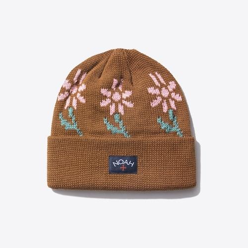 Floral Jacquard Beanie(Brown)